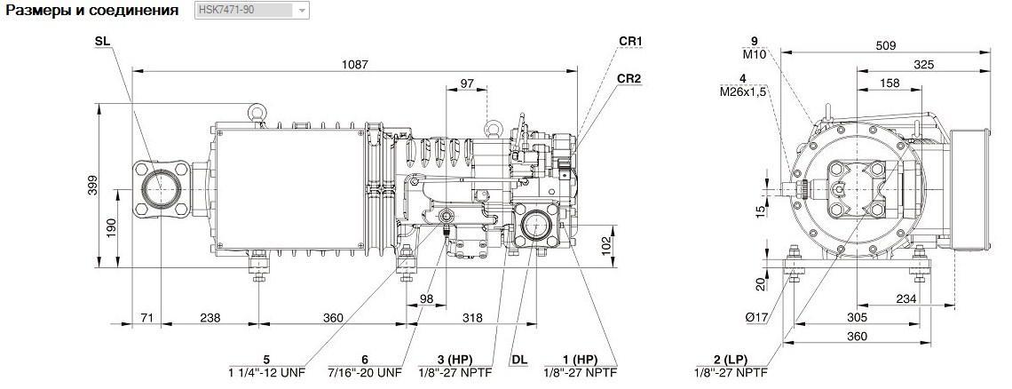 Габаритные и присоединительные размеры Bitzer HSK7471-90