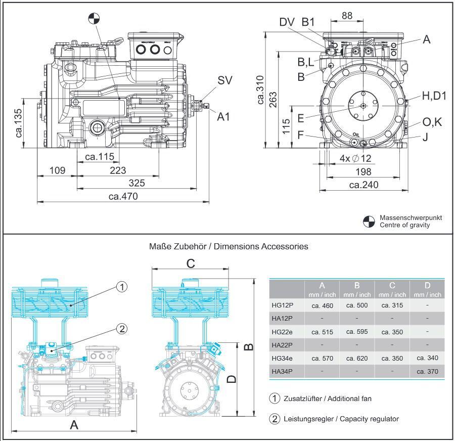 Габаритный чертеж компрессоров Bock HG22e
