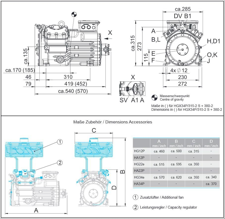 Габаритный чертеж компрессоров Bock HG34e