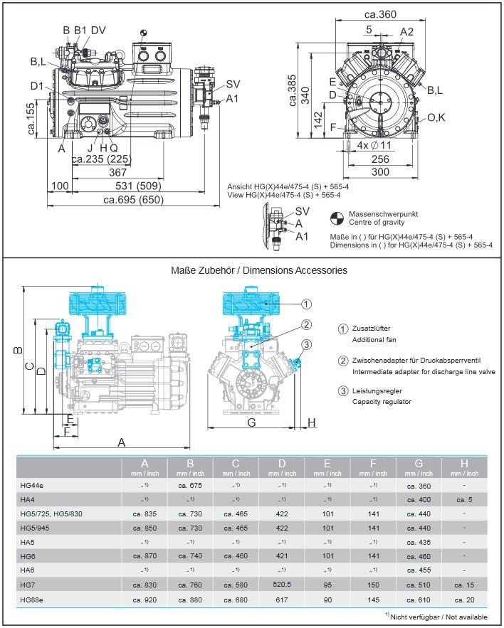 Габаритный чертеж компрессоров Bock HG44e