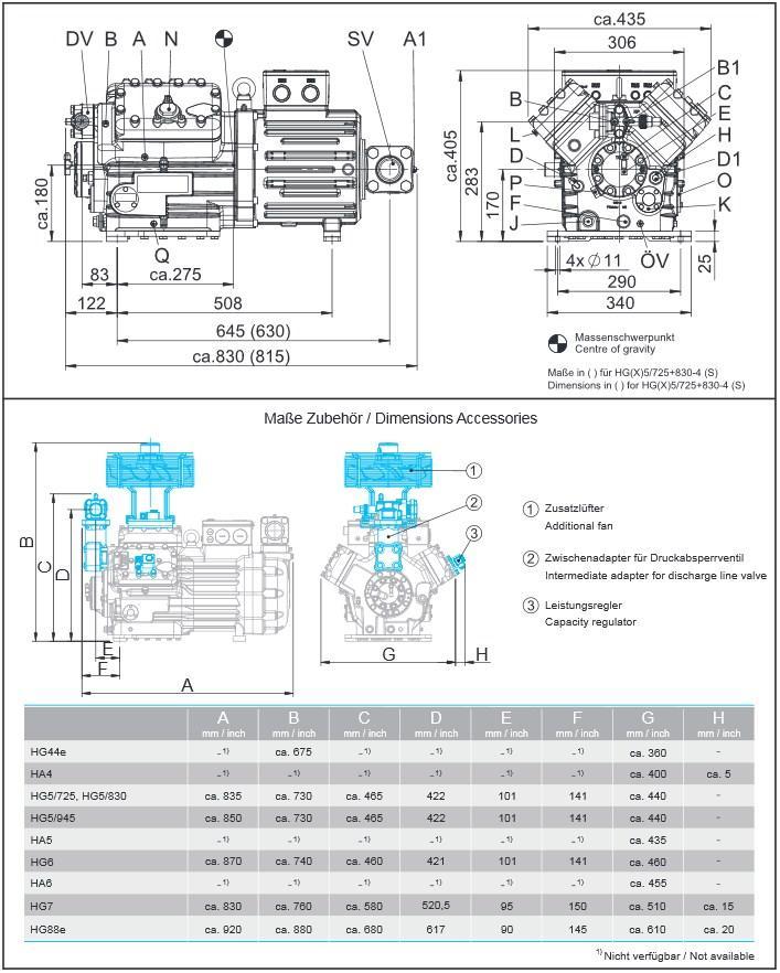 Габаритный чертеж компрессоров Bock HG5