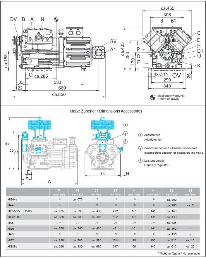 Габаритный чертеж компрессоров Bock HG6