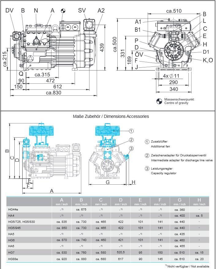 Габаритный чертеж компрессоров Bock HG7