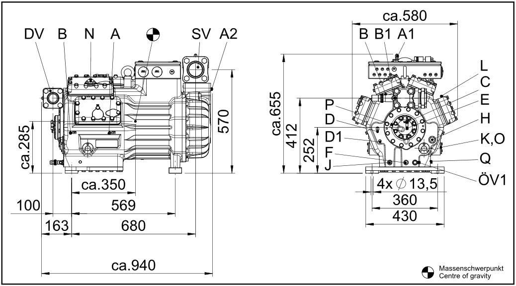 Габаритный чертеж компрессоров Bock HG8