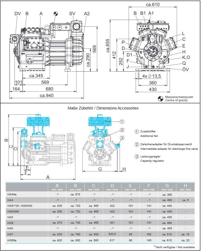 Габаритный чертеж компрессоров Bock HG88e