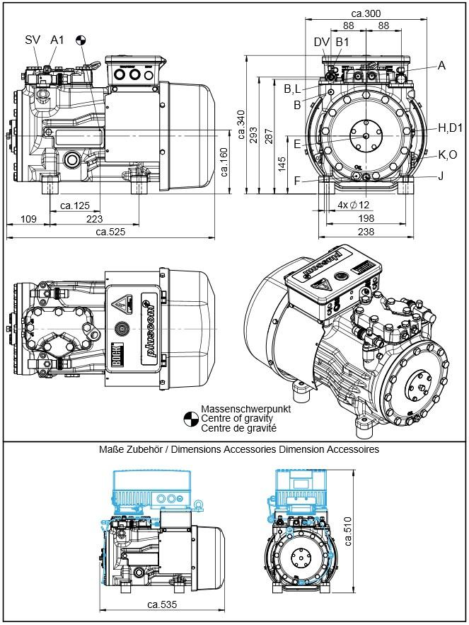 Габаритный чертеж компрессоров Bock HA22P