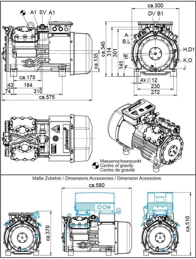 Габаритный чертеж компрессоров Bock HA34P