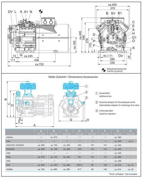 Габаритный чертеж компрессоров Bock HA4