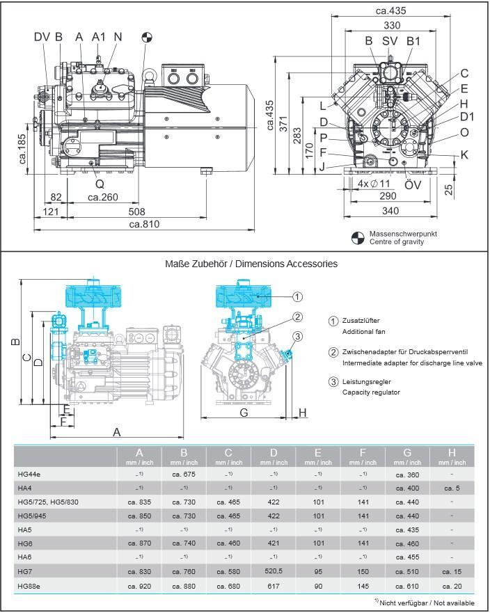 Габаритный чертеж компрессоров Bock HA5