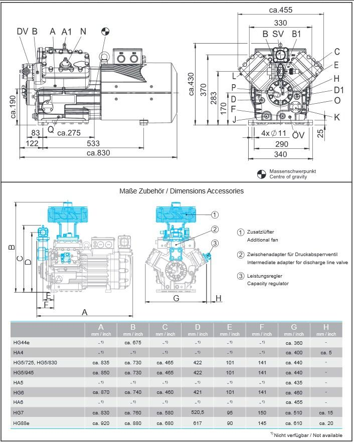 Габаритный чертеж компрессоров Bock HA6