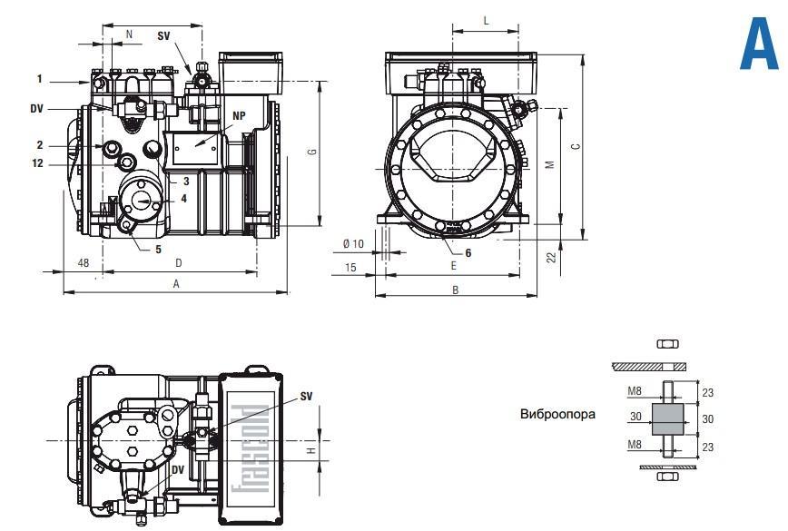 Габаритный чертеж компрессоров Frascold серии A