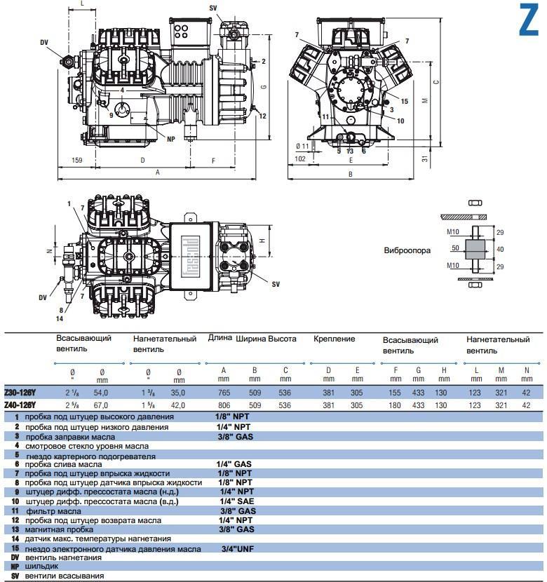 Габаритный чертеж компрессоров Frascold Z30-126Y и Z40-126Y