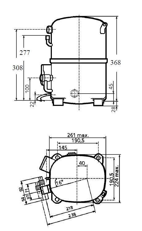 Чертеж и габаритные размеры компрессора TAG4546T