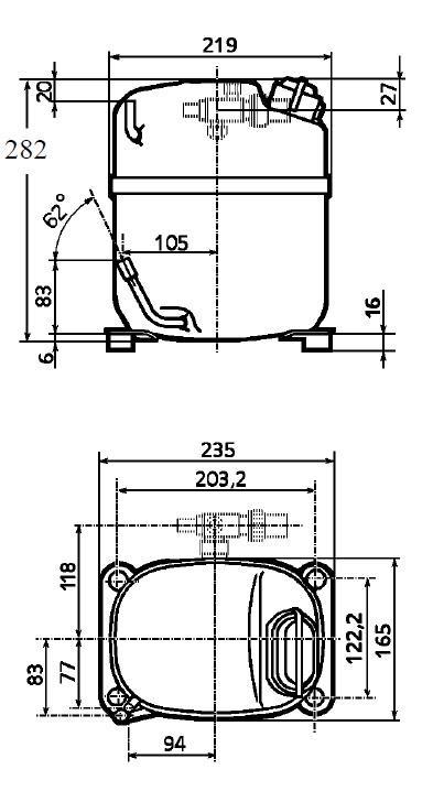 Чертеж и габаритные размеры компрессора CAJ4519Z