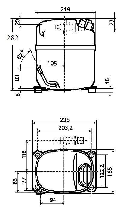 Чертеж и габаритные размеры компрессора TAJ4517Z /TAJ4519Z