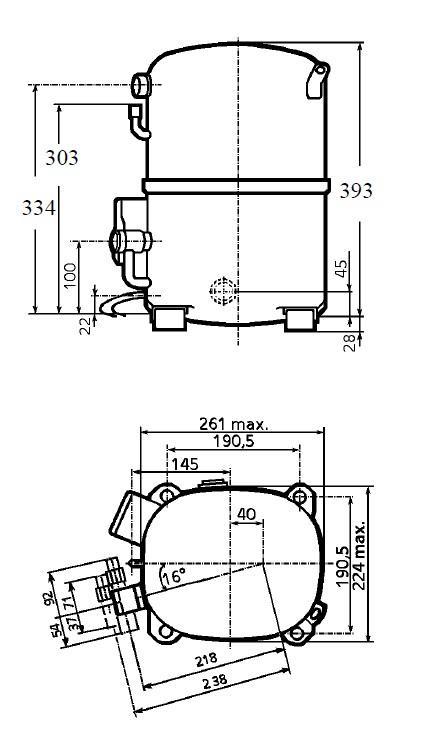 Чертеж и габаритные размеры компрессоров TAG4568 / TAG4573