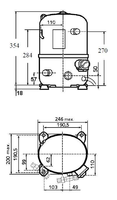 Чертеж и габаритные размеры компрессора TFH4531Z
