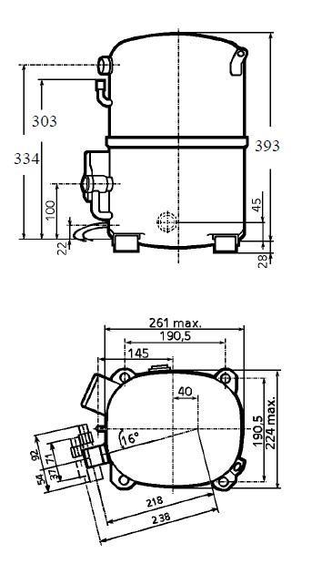 Чертеж и габаритные размеры компрессоров TAG2522Z