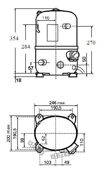 Чертеж и габаритные размеры компрессора TFH2511Z