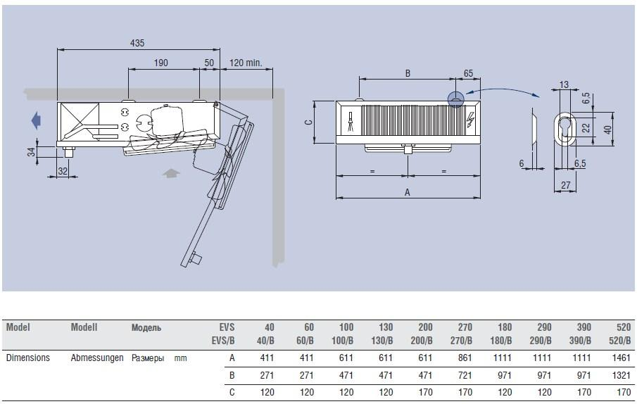 Чертеж и габаритные размеры воздухоохладителей ECO Luvata серий EVS 40/520 и EVS/B 40B/520B