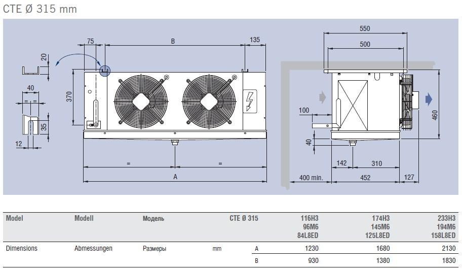 Чертеж и габаритные размеры воздухоохладителей ECO Luvata серии CTE, d=315 mm