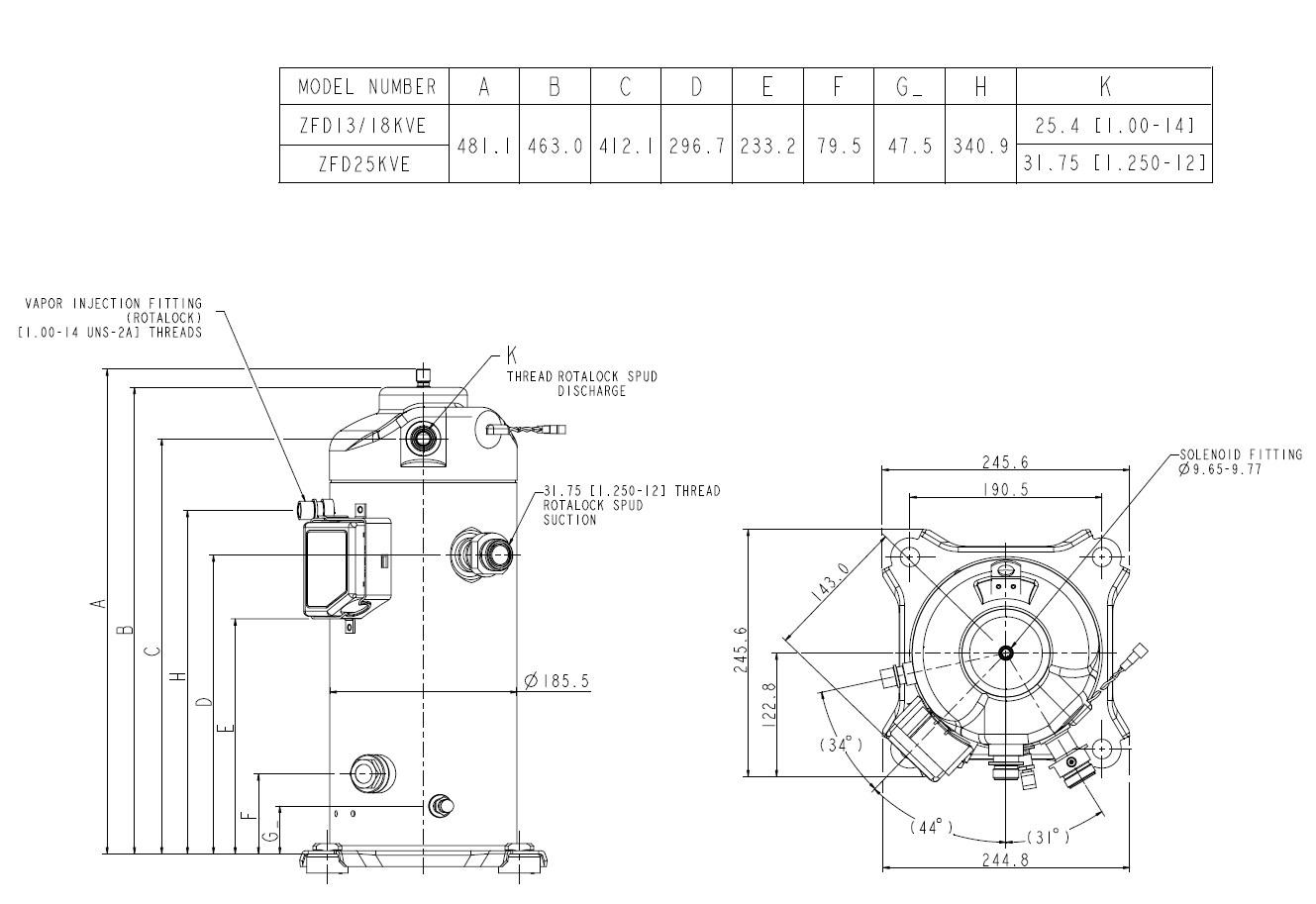 Габаритный чертеж спиральных компрессоров ZFD13,18,25 KVE Copeland