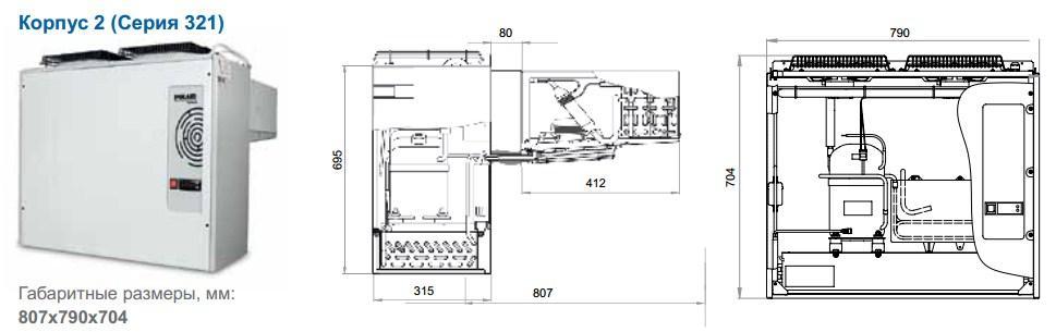 Габаритные размеры моноблоков Polair, исполнение корпуса 2