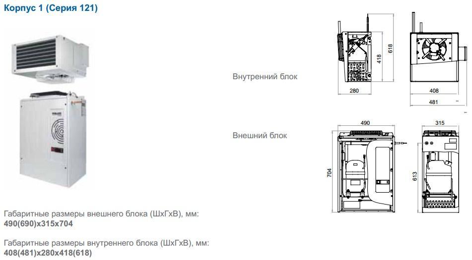 Габаритные размеры сплит-систем Polair, исполнение корпуса 1