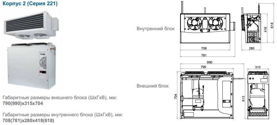 Габаритные размеры сплит-систем Polair, исполнение корпуса 2