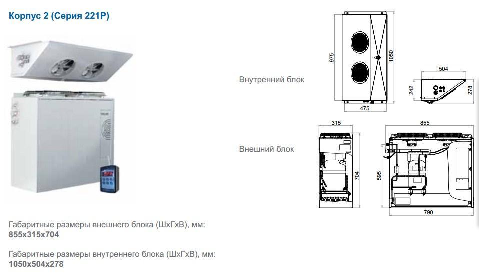 Габаритные размеры сплит-систем Polair Professionale, исполнение корпуса 2