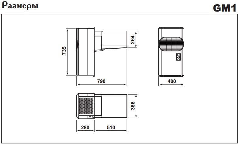 Габаритные размеры моноблоков Zanotti GM 1