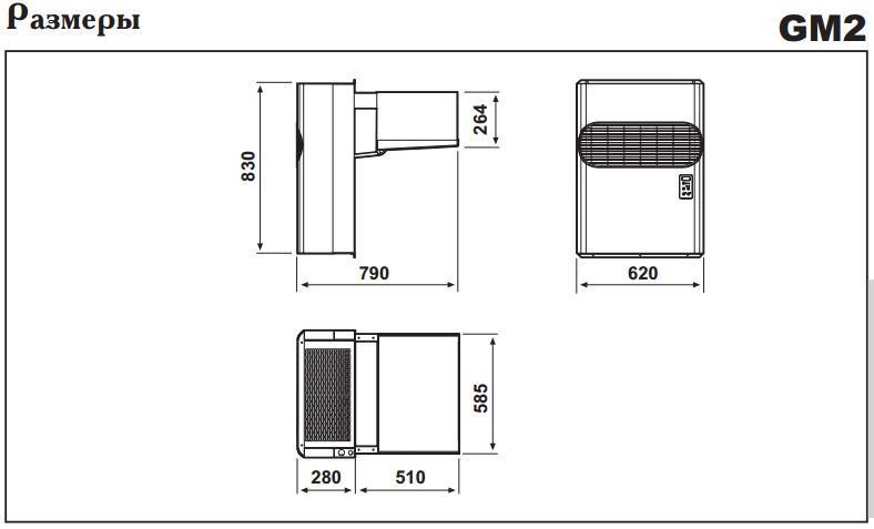 Габаритные размеры моноблоков Zanotti GM 2