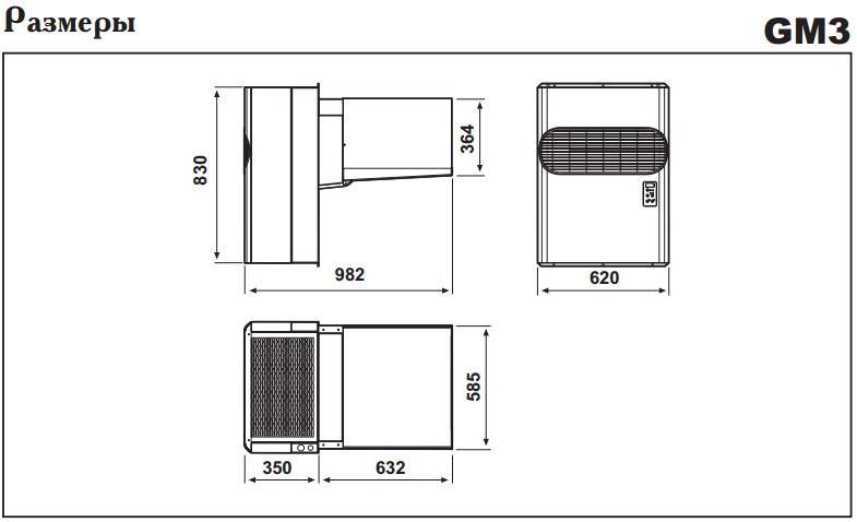 Габаритные размеры моноблоков Zanotti GM 3