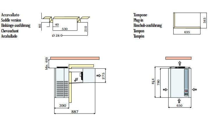 Габаритные размеры и схема монтажа моноблоков Rivacold FA/FT 12, 16, 22, 28