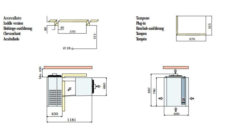 Габаритные размеры и схема монтажа моноблоков Rivacold FA/FT 20,24,34,40