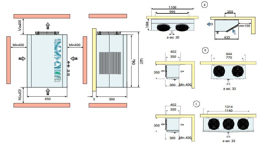Габаритные размеры сплит-систем FS 12,16,22,24,28