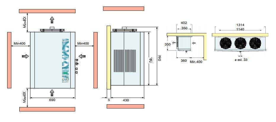 Габаритные размеры сплит-систем FS 20,24,34,40