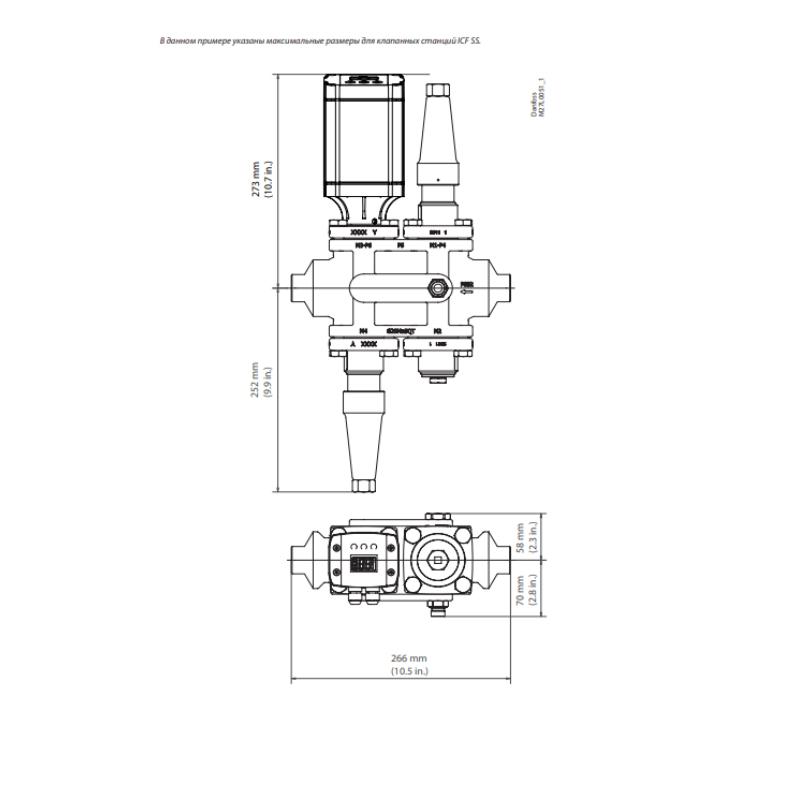 Габаритный чертеж универсального клапана-регулятора ICF 25-4 Danfoss