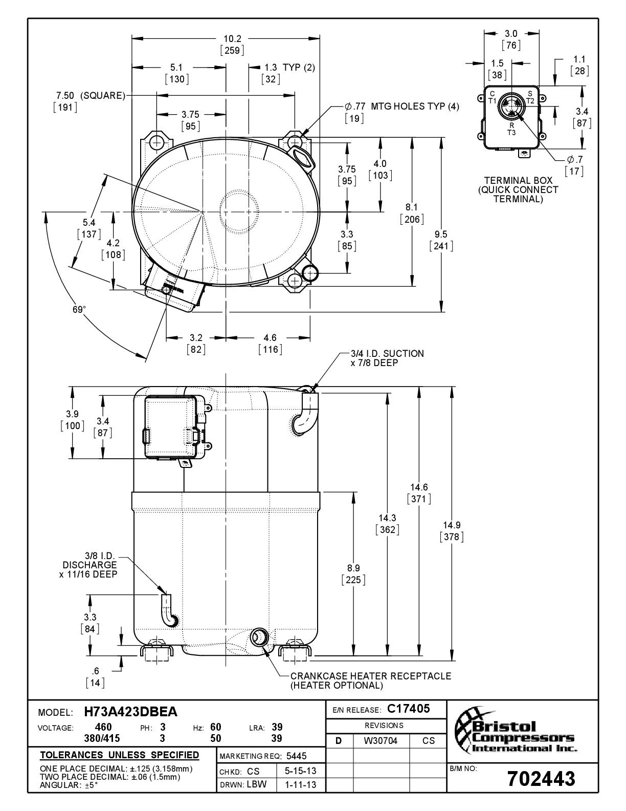Габаритный чертеж компрессора Bristol H73A423DBEA