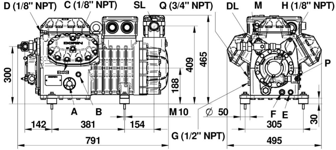 Габаритный чертеж компрессора Dorin H6 H4000CC