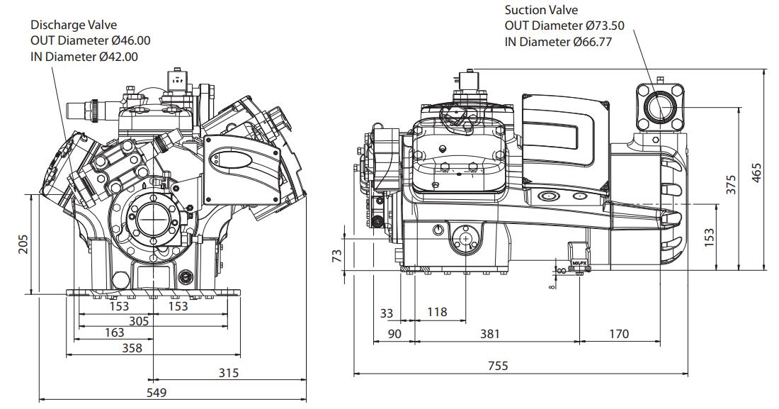 Габаритный чертеж компрессора Copeland 6MUD1-40X STREAM