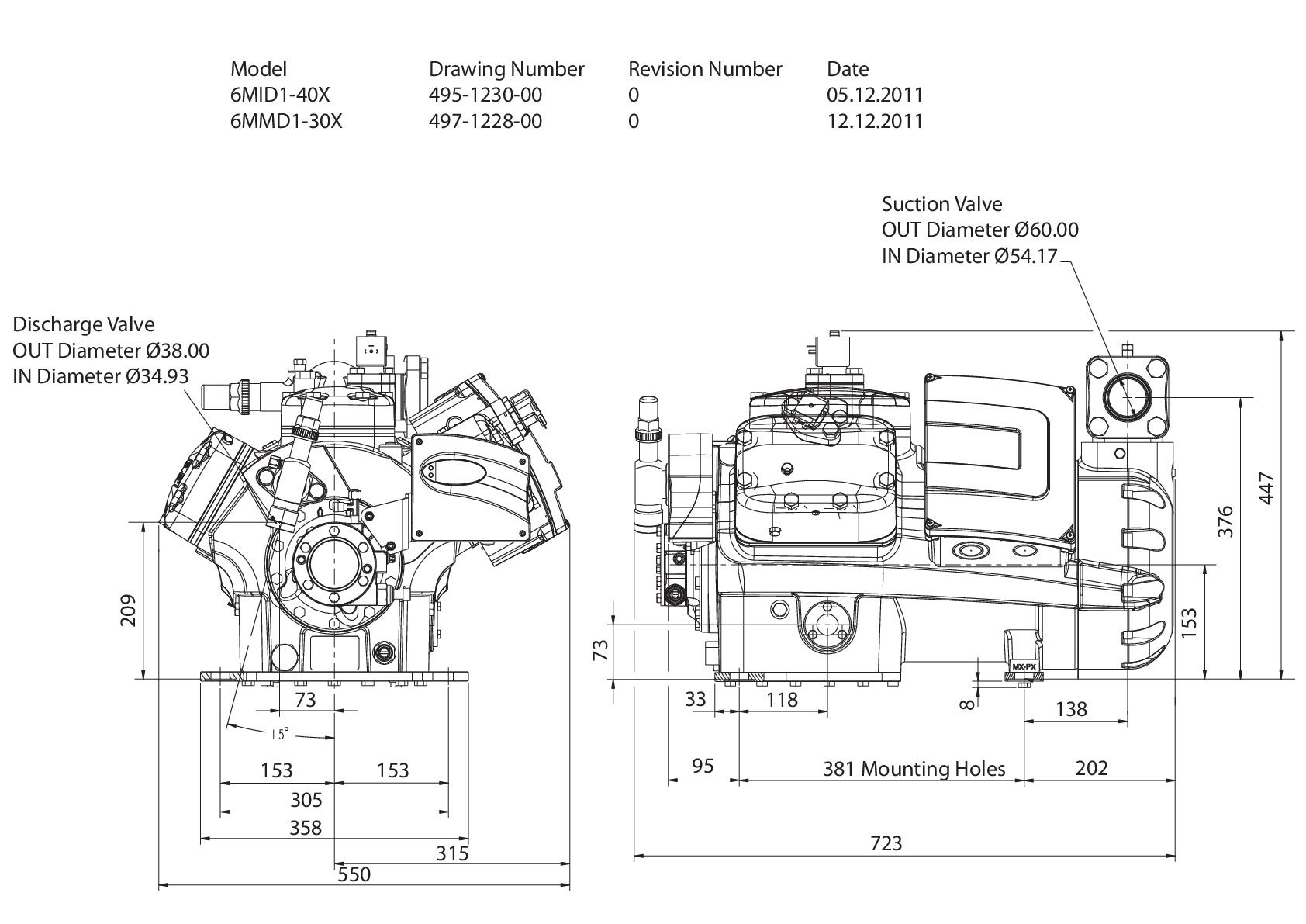 Габаритный чертеж компрессора Copeland 6MMD-30X-AWM STREAM