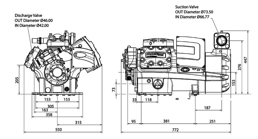 Габаритный чертеж компрессора Copeland 6MK-50X-AWM STREAM