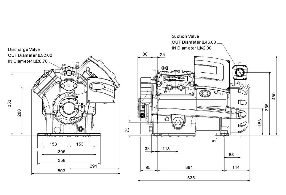 Габаритный чертеж компрессора Copeland 4MF-13X-AWM STREAM