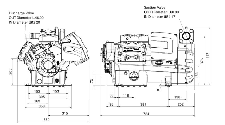 Габаритный чертеж компрессора Copeland 6MJ-45X-AWM STREAM