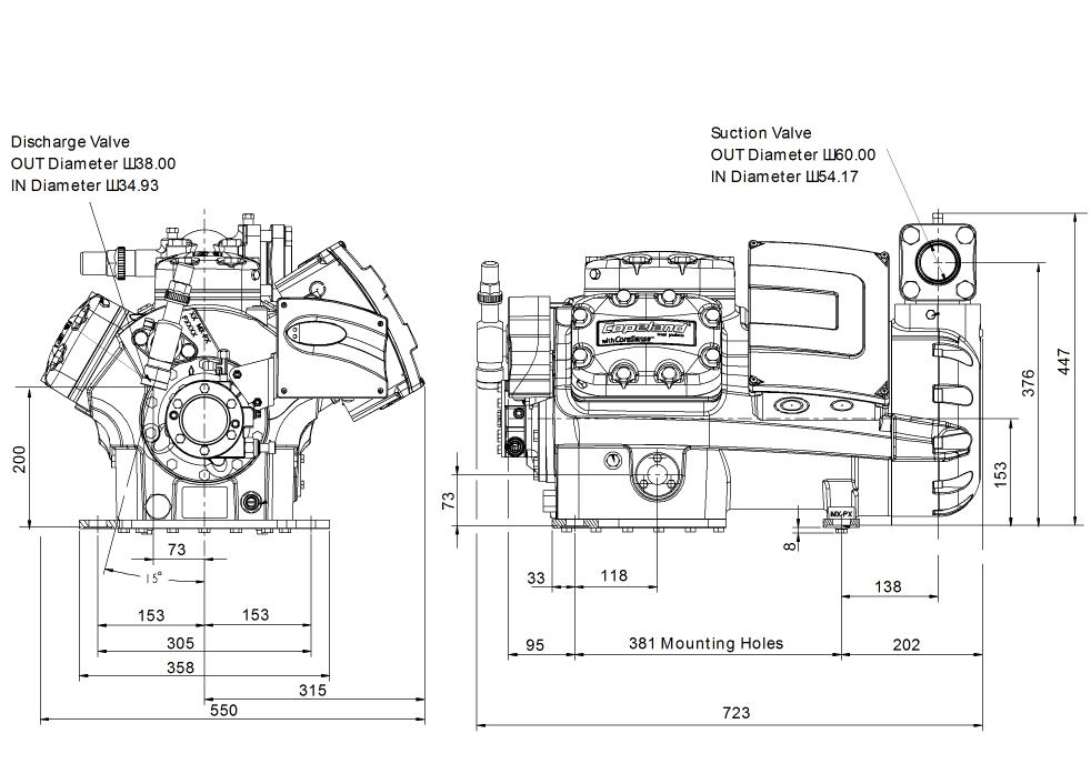 Габаритный чертеж компрессора Copeland 6MM-30X-AWM STREAM