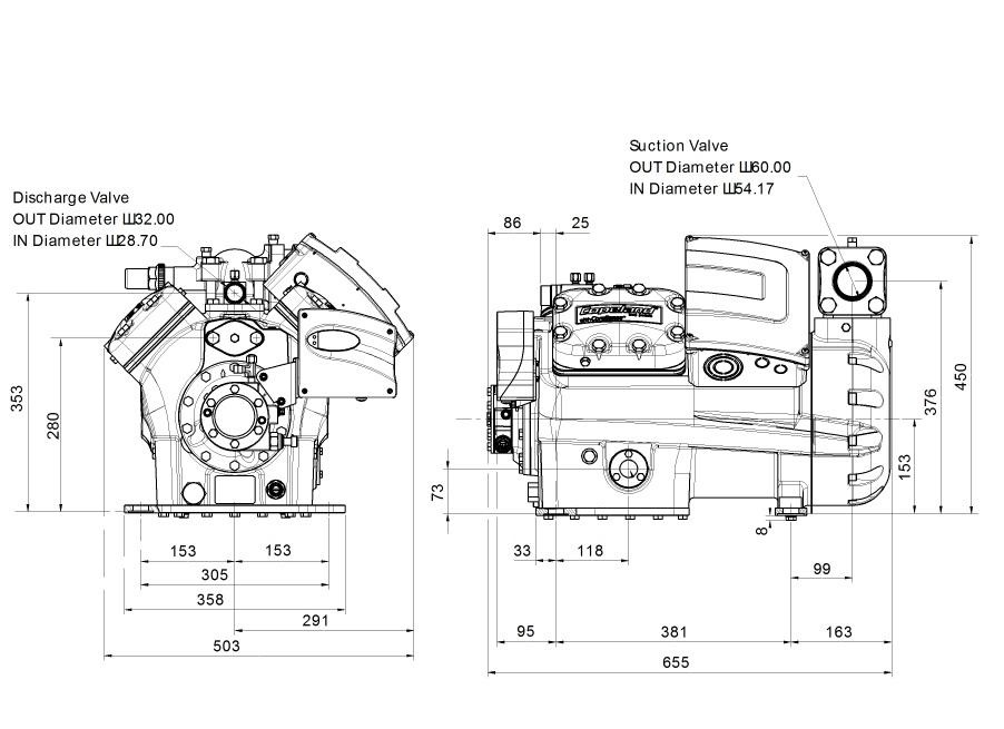 Габаритный чертеж компрессора Copeland 4MI-30X STREAM