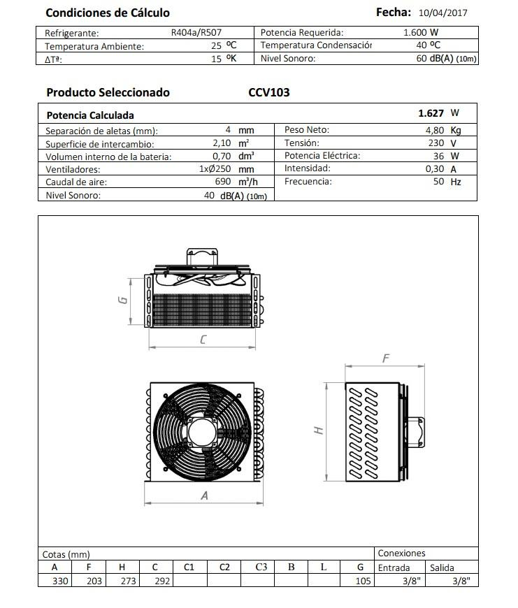 Габаритный чертеж и технические характеристики CV103